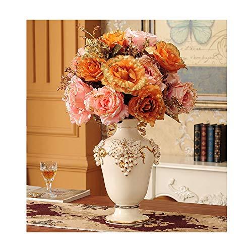 jarrones decorativos modernos Jarrón de cerámica de uva artificial amarilla de lujo, gabinete de TV de entrada de sala de estar, accesorios de alta gama (incluidas las flores artificiales) jarrón deco
