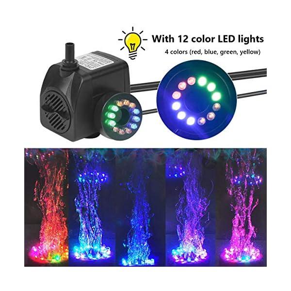 Flintronic Mini Bomba de Agua Sumergible, 12 LED Luces con 4 Colores Cambiantes Y 2 Boquillas, 15W/1.5m Bomba de Acuario…