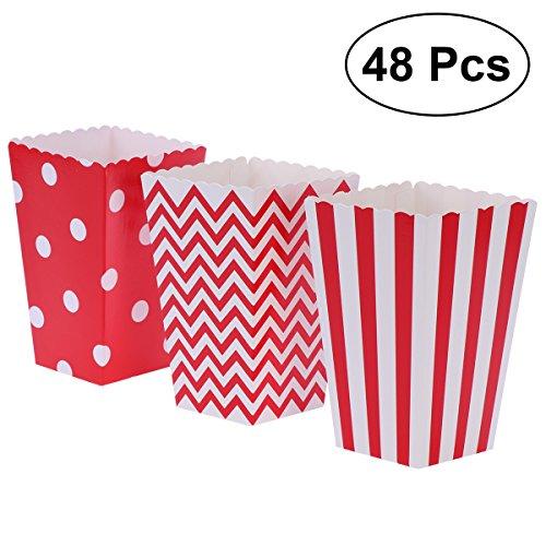 NUOLUX 48pcs Cajas de Palomitas cartón Caramelo contenedor patrón de Punto de Onda de Rugby Deco (Rojo)