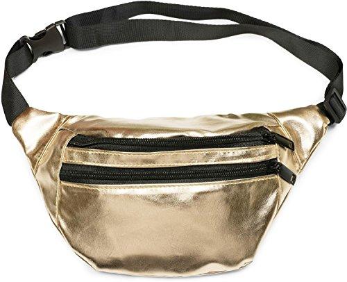 styleBREAKER gordeltas in metallic look en rits, fanny pack, heuptas, dames 02012243, Farbe:Goud
