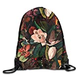 Lawenp Plegable Floral and Birds Drawstring Bag, Sports Cinch Sacks String Drawstring Backpack for Picnic Gym Sport Beach Yoga