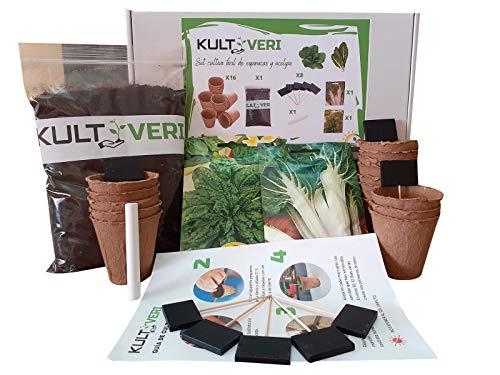 KULTIVERI Set de Cultivo de Espinacas y Acelgas: Macetas de