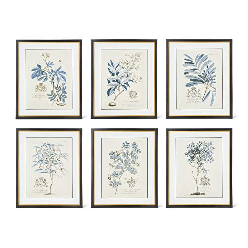 K&K Interiors 16257A Assorted Design 23.75 Inch Blue Arbor Prints In Black W/Gold Frame (6 Styles)