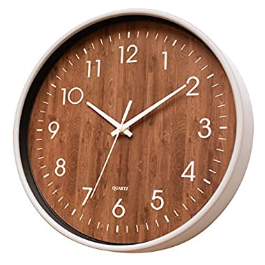 May Gifts 12-Inch Wooden Look Office Wall Clock - Silent & Non Ticking - Large, Round & Easy to Read - Decorative for Living Room, Office, Classroom - Cream