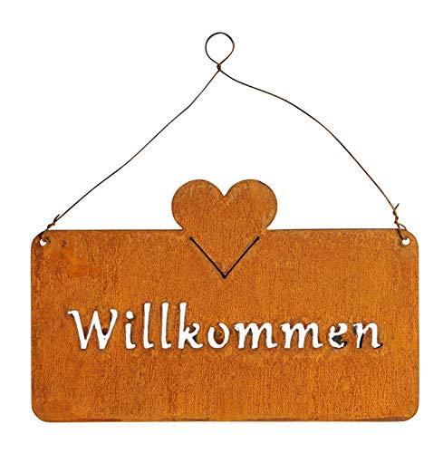 levandeo Schild Willkommen 25x16 cm Außen Garten-Deko Rost-Braun Rostoptik Herz Metall Türschild Wandbild Außendeko