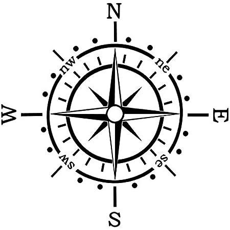 Generic Kompass Aufkleber Polarstern Windrose Aufkleber Auto Caravan Wohnmobil 173 1 30x30cm Schwarz Glanz Garten