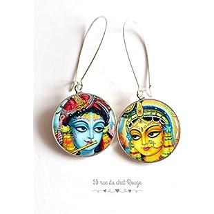 Asymmetrical earrings, cabochon Krishna Radha, Hindi wedding, India, color, colorful,:Kisaran