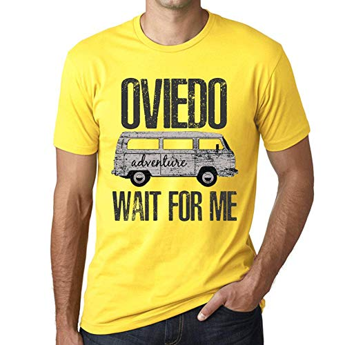 One in the City Hombre Camiseta Vintage T-Shirt Gráfico Oviedo Wait For Me Amarillo