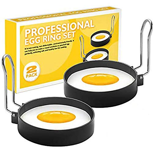 RUNYA Egg Rings Non Stick for Frying, for Fried Eggs, Pancakes, Mcmuffin, Omelettes, Crumpets, 2 Pack