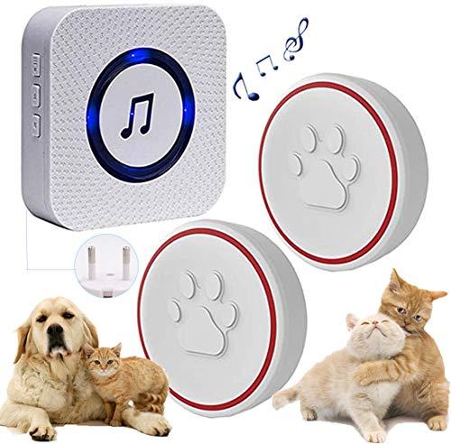 ChunHee Kabellose Hund Türklingel/Haustier Türglocken Sensor Berührt/Empfänger Steckdose 55 Klingeltöne und 5 Stufen Einstellbare Lautstärke/Wasserdicht Sender