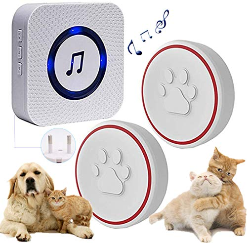 Timbre inal/ámbrico para puerta de perro timbre inteligente de comunicaci/ón para perro con bot/ón de presi/ón superligero timbre de entrenamiento de mascotas