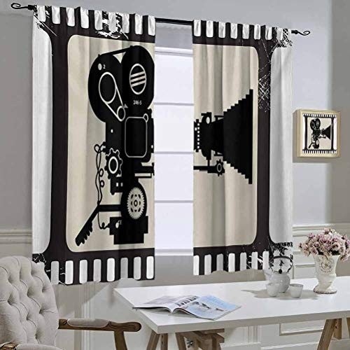Movie Theater Best Home Fashion Thermal Insulated Blackout Curtains Movie Frame Pattern with Silhouette of Movie Reels in a Projector Printed Darkening Curtains 63x45 Inch Dark Taupe Beige Black
