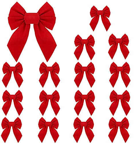 RUBFAC Red Velvet Christmas Bows 5 X 7 Inches 16 Pack for Christmas Wreath Christmas Tree Garland Window Wall Large Gifts Indoor Outdoor Holiday Valentine's Day Decorations