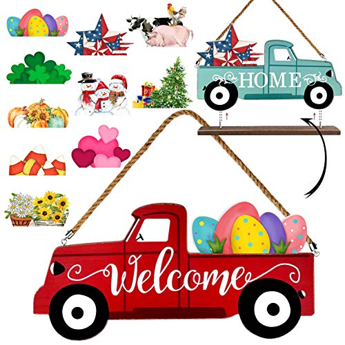Winder Truck Welcome Sign & Home Sign, 2-Side Red Truck Christmas Decor Signs with 10 Pc Icons for Front Door, Holiday, Easter, Fall, Harvest, Halloween, Seasonal and Interchangeable Wall Hanging