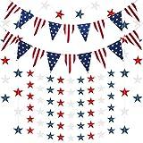 Set 10 decoración de guirnalda de fiesta patriótica, incluye 8 serpentina de estrella roja blanca azul, 2 bandera triangular EE.UU. para el 4 de julio día de la independencia fiesta de tema