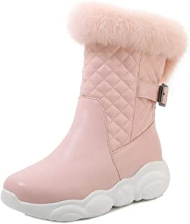 AbbyAnne Women Comfort Snow Boots Round Toe Short Boots with Mid Heels