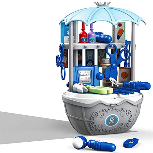 DQTYE Kit de médico para niños, de kits médicos realistas para dentista, juego de simulación, juego de médico, juego para niños con funda de transporte, juguetes educativos para niñas