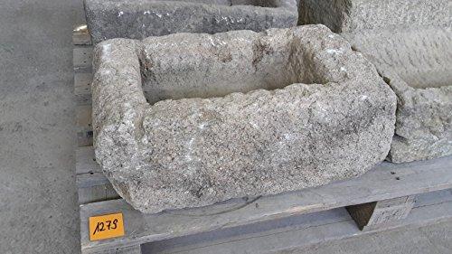 Der Naturstein Garten Alter Trog aus Granit 50 cm lang Brunnen Steintrog - G1279 Granittrog Waschbecken