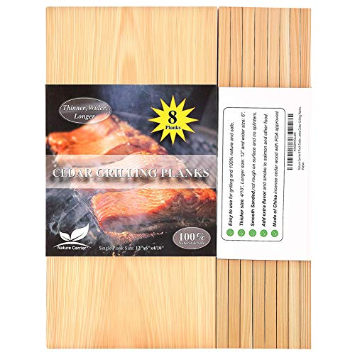 "Nature Carrier 8 Pack Cedar Planks for Grilling Salmon/Fish with Thicker (4/10"") & Larger (12""x 6"") Size. Add Extra Flavor and Smoke to Salmon- BBQ China Incense Cedar Grilling Planks."