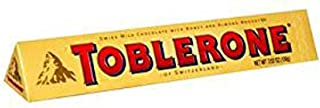 Toblerone Swiss Milk Chocolate Bar with Honey and Almond Nougat, 3.52 Ounce - 20 per case.