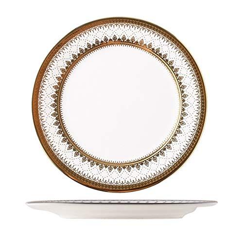 Mrjg Platos Placa de Oro de cerámica Ensalada de Frutas Sushi Placa de Postre Placas de Navidad y Platos Conjunto de planchas de Porcelana de Cocina Conjuntos de vajillas (Color : A9 Inches)