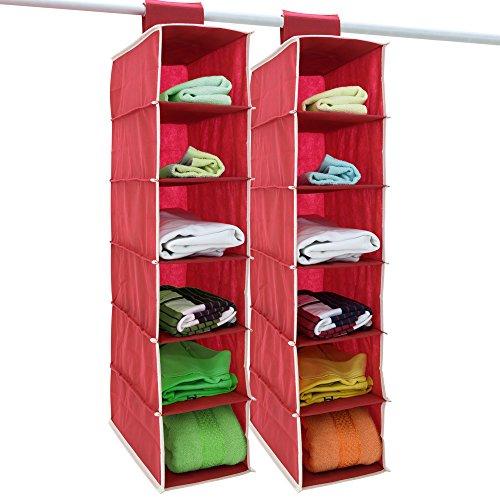 DEUBA 2er Set Hängeregal Kleiderschrank 6 Fächer Organizer Klettverschluss Faltbar Ordnungssystem Camping Schuhe 80x15x30 cm Rot Weiß
