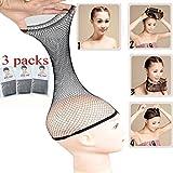 3 Packs Elastic Mesh Net Wig Caps for Women Open End Wig Cap for Long and Short Hair (3 Packs, Black)