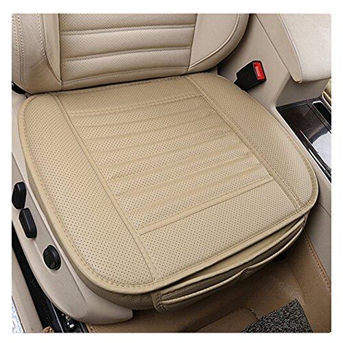 EverFablous autostoelhoezen, PU-leer, bamboe houtskool, ademend, comfortabel autostoelkussen, mat voor auto-benodigdheden, bureaustoel, enkele stoel zonder rugleuning, 2 stuks Beige