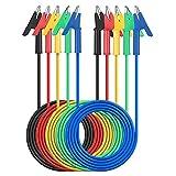Pinzas de Cocodrilo AMTOVL 3.3ft/1m Doble Extremo de Alambre de Puente 5PCS Coloridas 15A Juego de Cables de Prueba con Pinzas de Cocodrilo Cobre con Clips Aislante para Pruebas Eléctricas 5 Colores