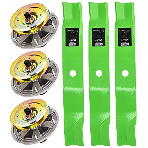 8TEN Spindle High Lift Blade Kit for John Deere Cut 60 inch Deck 667A 737 757 777 797 M665