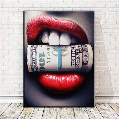 Rote Lippen mit Geld Zitat Poster drucken Ölgemälde Bild auf Wandkunst Leinwand Wohnzimmer Bar Idee kreative Heimat rahmenlose dekorative Malerei A40 60x90cm