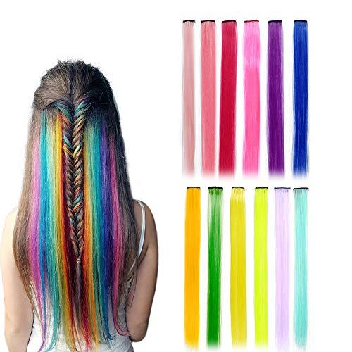 12 Stück Ealicere Farbiger Haarverlängerungs Clip, Bunte Gerade Haarteil Perücke Party Highlight für Kinder Mädchen, Damen Strähnchen Clip