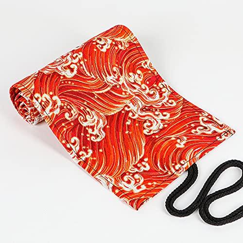 MEYYY Estuche enrollable portátil para lápices, elegante organizador para bolígrafos impreso, 12/24/36/48/72 agujeros, estuche enrollable para artistas, color rojo, 20 x 23 cm