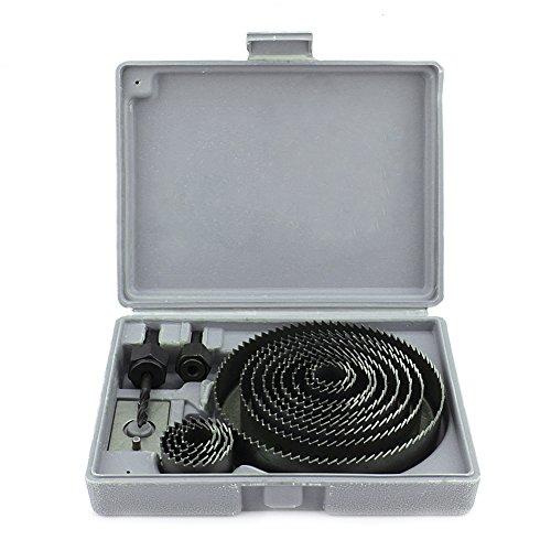 Yosoo 1 X gatenzaag Set - 16 stks Koolstofstaal Metaal Hout Gat Zaag Kit Cirkel Snijder Ronde Boor Bits in Case met Mandrels en Installeer Plaat voor Deurknop Lock