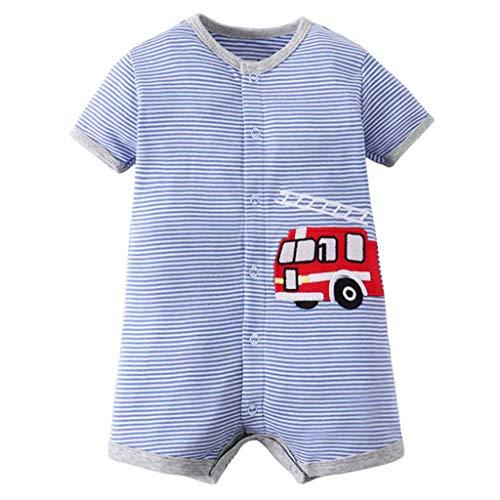 Baby Jungen Strampler Baumwolle Schlafanzüge Kurzarm Body Sommer Overall Kleinkind Spieler Cartoon Auto Onesie Pyjamas Babyspielanzug, 6-9 Monate