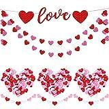 Set de Decoración de San Valentín 100 Confeti de Corazón, 2 Banderas de Guirnalda de Corazón Brillante y Bandera de Guirnalda Love para Suministros de San Valentín Boda Cumpleaños Fiesta