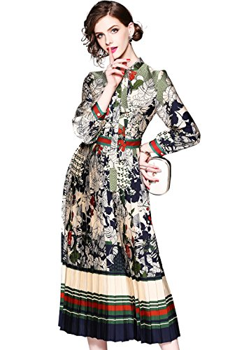 """Damen 3/4-Arm/Lange à""""rmel Hemdkleider mit Blumenmuster Knopfleiste Vorne Casual A-Linie Kleid, Style 4, 42"""