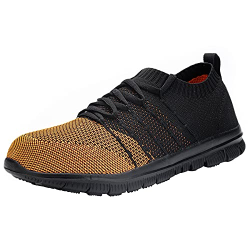 [DYKHMILY] 防水 安全靴 レディース 軽量 鋼先芯(JIS H級相当) あんぜん靴 耐滑 通気性 作業靴 アウトドア おしゃれ セーフティーシューズ スニーカー(23.0,ブラック/オレンジ)