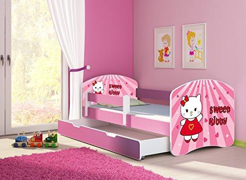 Clamaro 'Fantasia Pink' 160 x 80 Kinderbett Set inkl. Matratze, Lattenrost und mit Bettkasten Schublade, mit verstellbarem Rausfallschutz und Kantenschutzleisten, Design: 15 Sweet Kitty-1