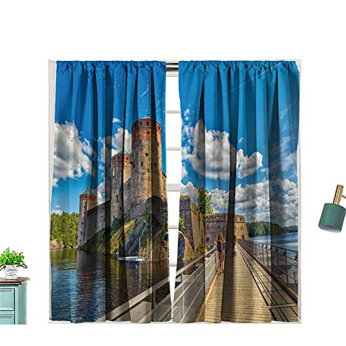Hiiiman Rod Pocket Blackout Curtains Bridge to The Olavinlinna Olofsborg The 15th Century Medieval Thermal Insulated for Bedroom, W55 x L45