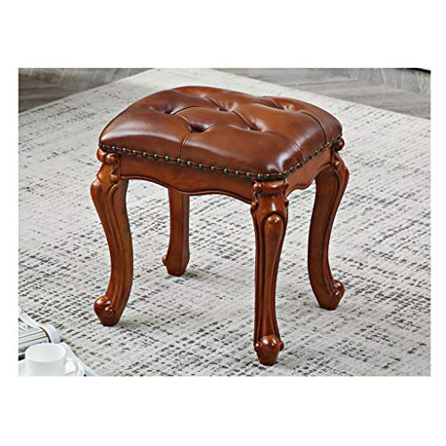 MJIA Dressing Stool, Solid Wood Makeup Stool Simple Shoe Bench Bedroom Leather Stool Fashion Dressing Chair For Families (Color : 02)