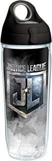 Tervis 1280883 Justice League Icons Tumbler with Wrap and Black with Gray Lid 24oz Water Bottle, Clear