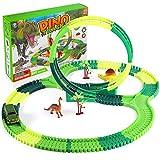 SHANNA Pistas de Dinosaurios Juguete Coche de Carreras Juego de Juguetes Vías de Tren Flexibles Juego de Rompecabezas Dinosaurio Juguetes para niño Niña Cumpleaños (Pistas Juguete B)