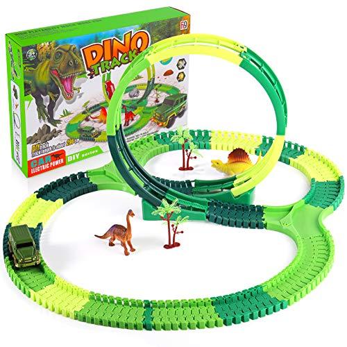 SHANNA Pista Macchinine Dinosauro, Giochi Dinosauri Giocattolo Auto Dinosauro Gioco di Puzzle Flessibile Traccia Giocattolo da Corsa Regalo per Bambini 3 4 5 6 7Anni (Pista Macchinine B)