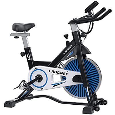 LABGREY Indoor Cycling Bike Stationary, Silent Belt Drive Exercise Spin Bikes For Home Cardio & Resistance Training Workout with LCD Monitor, Comfy Seat, iPad Holder