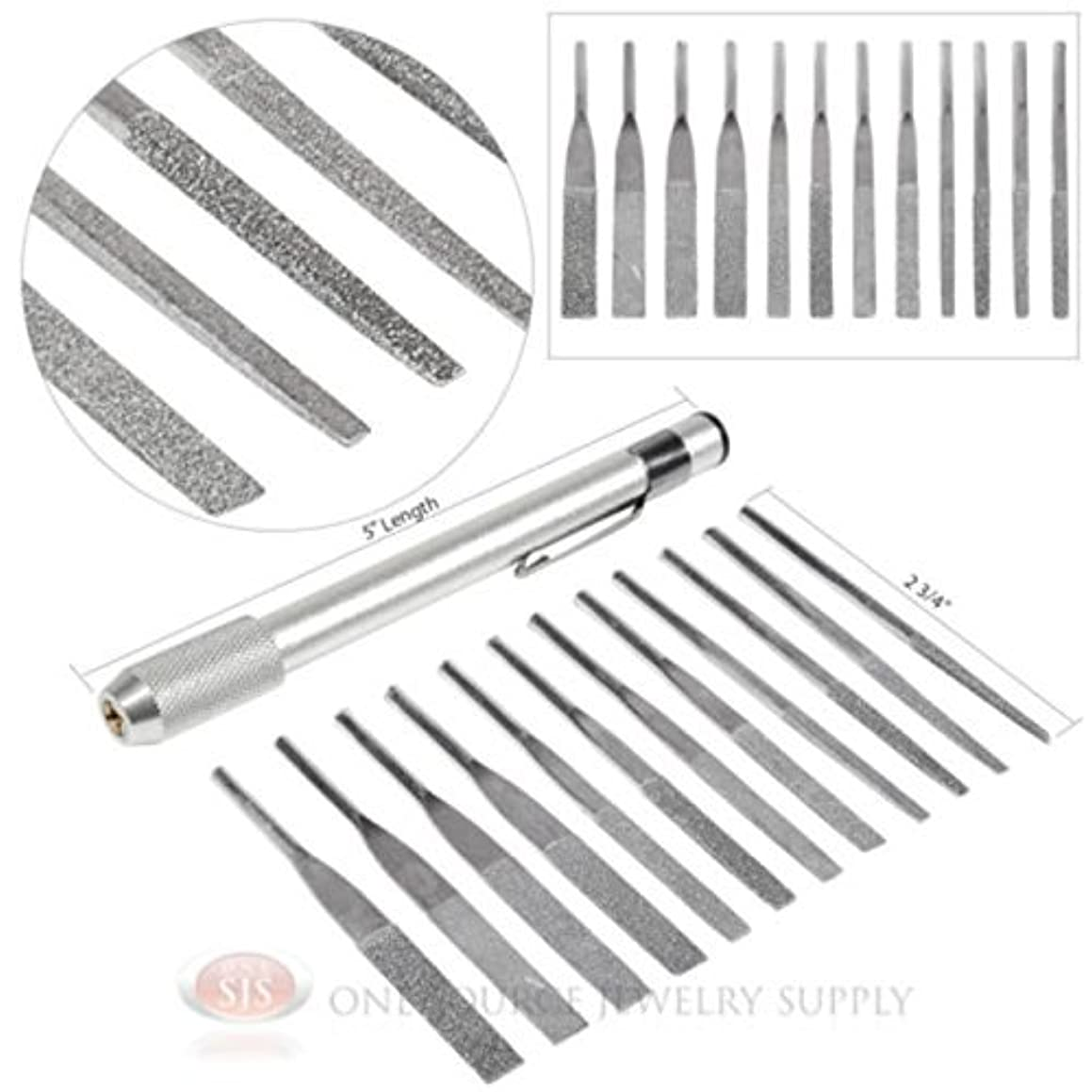 12pc Assorted Grit and Size Diamond Needle File Set Jewelers Tools Handle