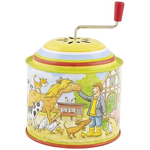 Goki Musikspieldose, Bauernhof, Melodie: Old Mc Donald had a Farm: H= 10,5 cm, Ø 7,8 cm, Blech,  per Stück