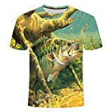 Camiseta De Verano con Pez Al Aire Libre para Hombre,Estampado 3D,Camiseta Transpirable con Cuello Redondo,Camiseta Informal De Pesca De Manga Corta para Hombre,Camiseta Deportiva De Calle,L