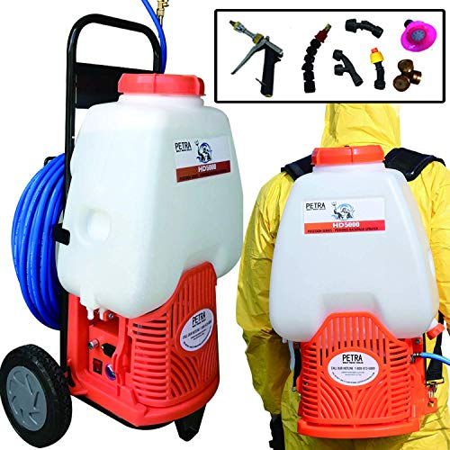 Petra Powered Backpack Sprayer with Custom Fitted Cart and 100 Foot Commercial Hose, 2 Hoses Included, Commercial Quality Heavy Duty Sprayer (HD5000-Cart-Sprayer, Orange)