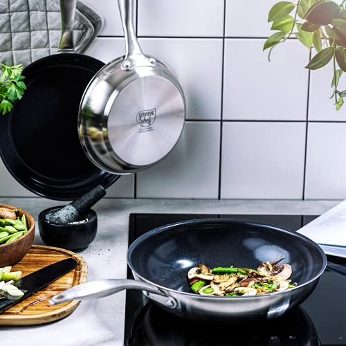GreenChef Frying Pan, Non Stick Stainless Steel Ceramic Cookware - Induction & Oven Safe Cookware - 28 cm, Silver 2 Gallery Image